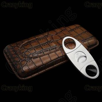Travel Cigar Case Holder 3 Tube Humidor With Cutter Set