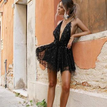Backless Halter Black / Gold Party Dress