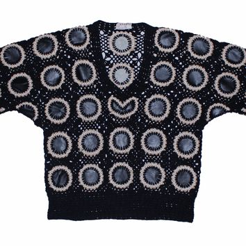 Leather Patch Crochet Sweater M
