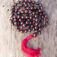 High-Energy Red Garnet Mala
