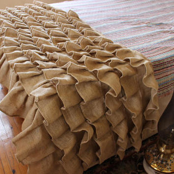 Burlap Bed Runner Ruffled Bed Scarf Farmhouse Bedding Burlap Bedding EXPRESS SHiPPiNG Via UPS