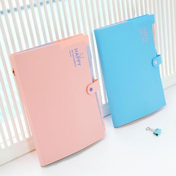 Mini PP Candy Colors A4 Test Paper File Folder Snap 12 Layer Large Expanding Wallet Clip Bag Kid School Office Business Supplies
