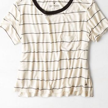 AEO Women's Soft & Sexy Striped Pocket T-shirt (Black)