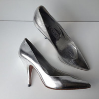80s Silver Metallic Pumps