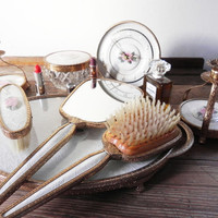 1940 - 1960s Vintage 8 piece vanity set by 'Regent of London' Lace style and bone china detail. RARE set. UK vintage seller
