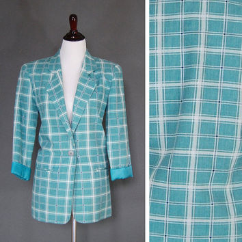 80's Blazer / Boyfriend Blazer / Oversized Blazer / Teal Plaid / X-Small