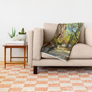 Cobble Hill Brooklyn New York in the Fall, Brownstones Throw Blanket by ANoelleJay