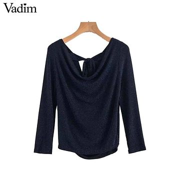 Vadim women sexy sequined elastic shirts shiny backless bow tie long sleeve blouse autumn ladies casual chic tops blusas LT2437