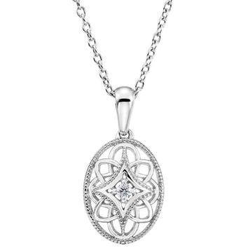 "Sterling Silver .03 CTW Diamond Oval Filigree Pendant 18"" Necklace"