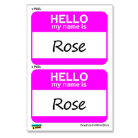 Rose Hello My Name Is - Sheet of 2 Stickers