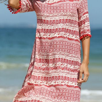 Red Printed PomPom Sleeve Summer Dress