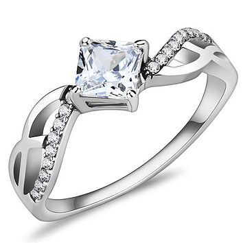 A Perfect 1CT Princess Cut Halo Russian Lab Diamond Engagement Journey Ring