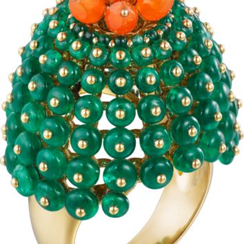 Cactus de Cartier ring: Cactus de Cartier ring, 18K yellow gold, emeralds, carnelians, set with a brilliant-cut diamond of 0.10 carats.