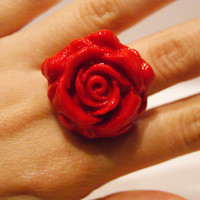 Red Fimo Clay Rose Ring