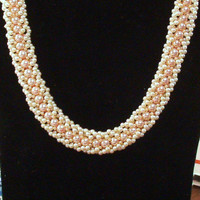 Handmade Bead Woven Necklace in Peaches and Cream