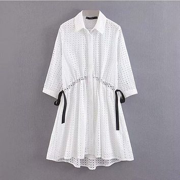 Women Dress Summer Cotton Bow Embroidered Dress Ms Summer Stylish Slim Fit Temperament Seven-Quarter Sleeve Dress