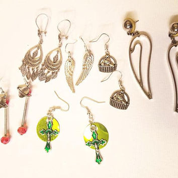 6 pairs mixed earrings lot dangles cross saturn cat vintage and new handmade charm jewelry lot