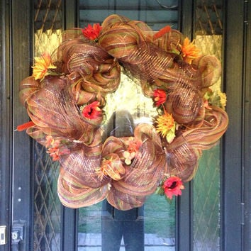 Fall Deco Mesh Wreath by KristenLDempsey on Etsy
