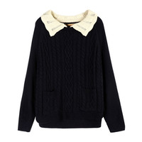 Navy Cable Knitted Jumper with Contrast Crocheted Collar