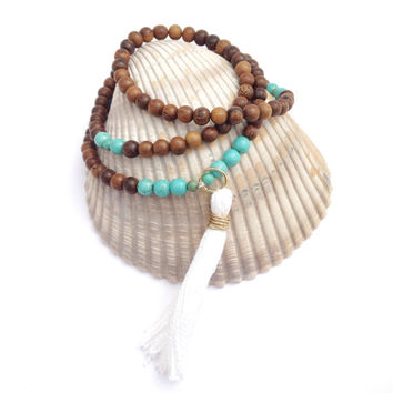 Clarity Mala Tassel Necklace | 108 Mala bead | Turquoise colored Magnesite and Robles Wood Mala with White and Gold Tassel | Boho Beach