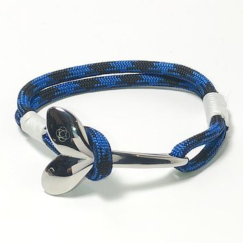 Black and Blue Nautical Whale Tail Bracelet 98