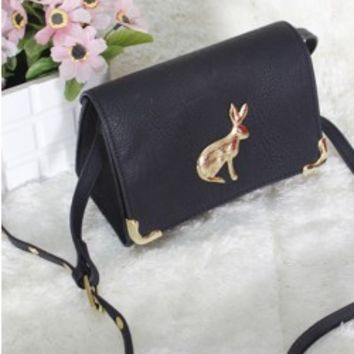 Retro Style Rabbit/Owl Print Mini Shoulder Bag With PU Leather