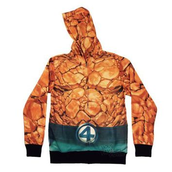 Fantastic Four The Thing Costume Sublimated Fleece Marvel Adult Hoodie
