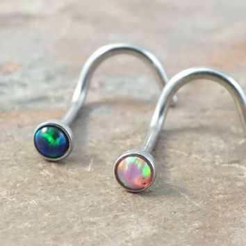 Pink Opal and Black Fire Opal Corkscrew Nose Piercing Ring Stud
