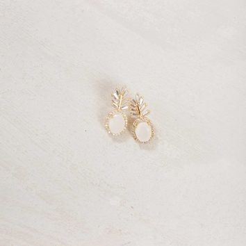 Anabelle Ivory Crystal Feather Earrings