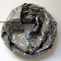 Feather boho grey and pink cotton infinity scarf