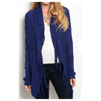 """Must Have"" L/S Knit Fringe Beautiful Blue Cardigan"