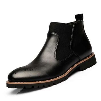 Men's Chelsea Boots, British Style Fashion Ankle Boots Soft Leather Casual Boots