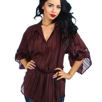 Beautiful in Brown Chiffon Tunic Top