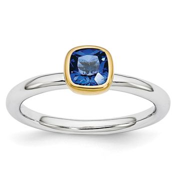 Two Tone Sterling Silver Stackable 5mm Cushion Created Sapphire Ring