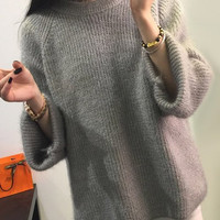 Gray Long Sleeves Sweater