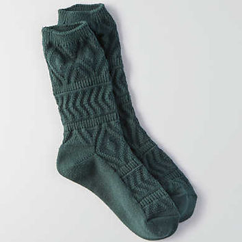 AEO Textured Geo Crew Socks, Charcoal
