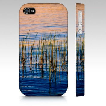 iPhone Case, iPhone 4/4S, iPhone 5, Samsung Galaxy S3, Reeds in Lake, Blue Orange Water, Nature Photography, Abstract, Summer