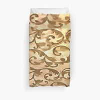 'Stylized Foliage Leaves In Gold' Duvet Cover by taiche