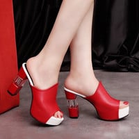 women sandals patent leather waterproof peep toe wedge platform shoes red bottom heel sexy high heels stiletto slippers