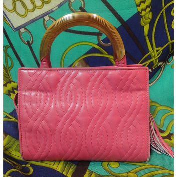 Vintage FENDI pink leather tote purse with twist rope motif tote with a golden handles. Can be shoulder bag