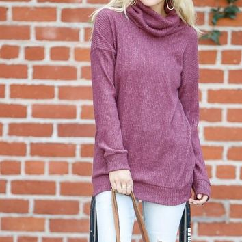 Ribbed Knit Cowl Neck Top