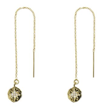 Hammered North Star Disc Threader Earrings