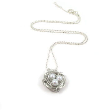 Silver Bird Nest Necklace Summer Trends Small by mediterraneangirl