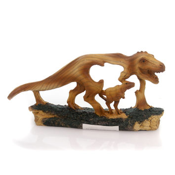 Animal REX WOODLIKE CARVING Polyresin Prehistoric Mmd197