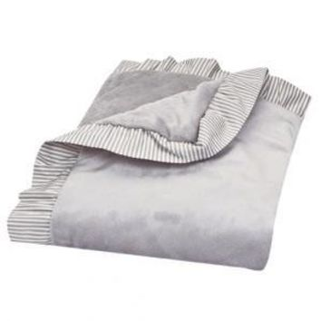 Dove Gray Ruffled Velour Baby Blanket