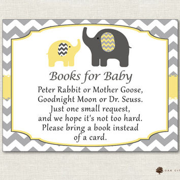 Yellow Elephant Books for Baby, Bring a Book Instead of Card, Bring a Book Baby Shower, Bring a Book Insert, Bring a Book - Printable, DIY