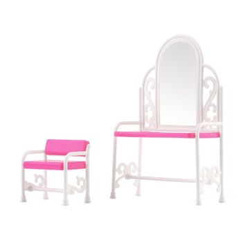 New Dressing Table & Chair Accessories Set For Barbies Dolls Bedroom Furniture