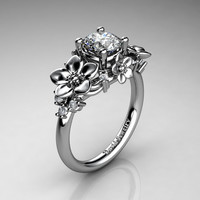 Nature Inspired 14K White Gold 1.0 Ct White Sapphire Diamond Leaf Vine Unique Floral Engagement Ring R1026-14KWGDWS