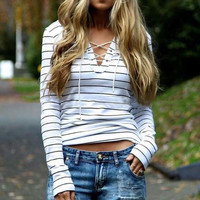 Simple Casual Stripe Long Sleeved Drawstring Top
