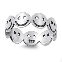 925 Sterling Silver Smiley Face Eternal Happiness Ring 6MM